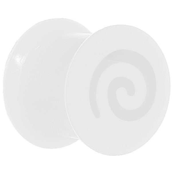 00 Gauge White Flexible Silicone Flat Spiral Plug