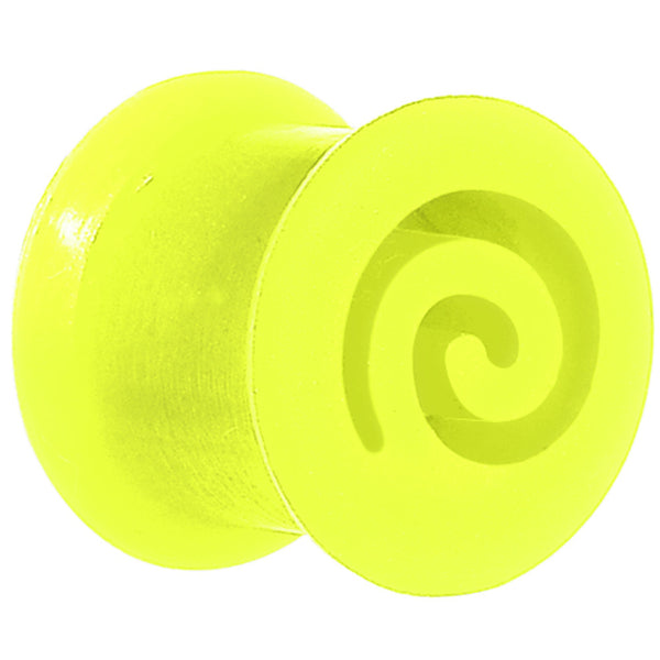 00 Gauge Green Flexible Silicone Flat Spiral Plug