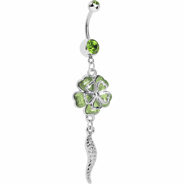 Green Morning Glory Flower Dangle Belly Ring