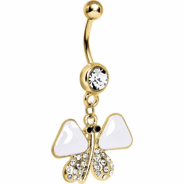 Gold Plated White Enamel Jeweled Butterfly Dangle Belly Ring