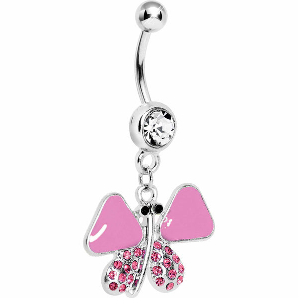 Pink Enamel Jeweled Butterfly Dangle Belly Ring