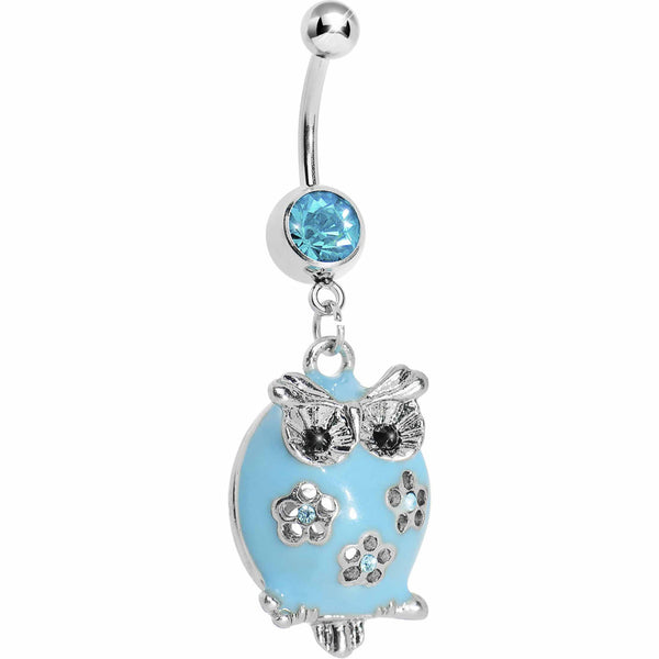 Pretty Blue Whimsical Owl Belly Ring