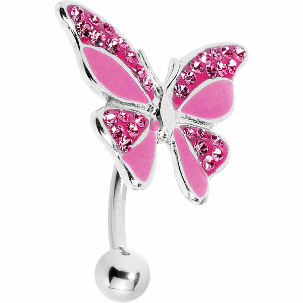 Pink Enamel Gem Paved Top Mount Butterfly Belly Ring