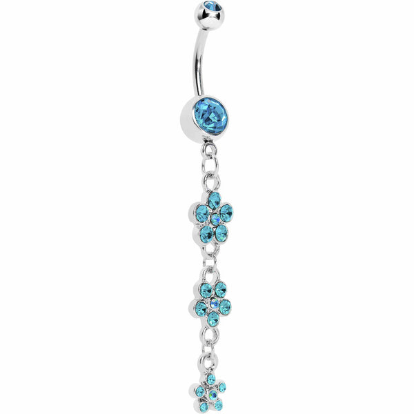 Blue Three Flower Radiance Drop Belly Ring