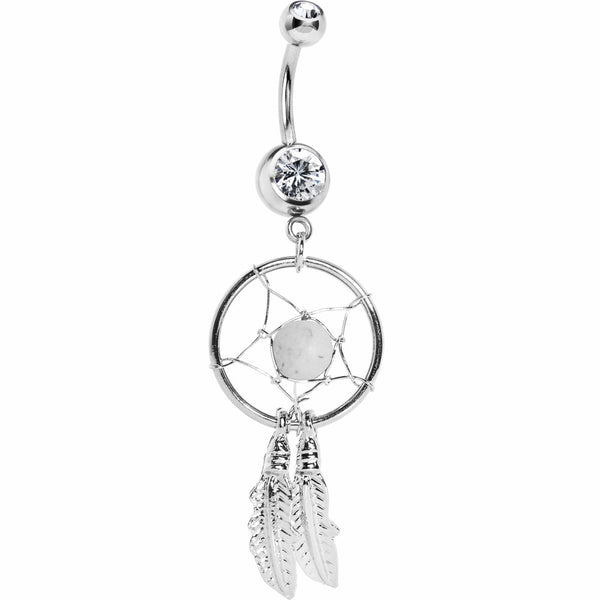 White Native American Dreamcatcher Belly Ring