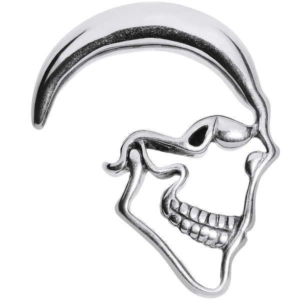 0 Gauge Stainless Steel Grimacing Skull Hanger Plug Taper