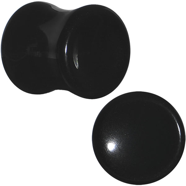 00 Gauge Natural Black Obsidian Saddle Plug Set