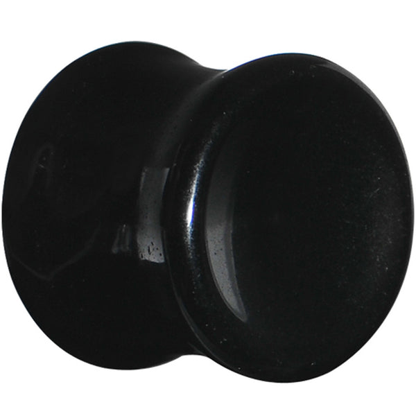 "1/2"" Black Obsidian Natural Stone Concave Plug"