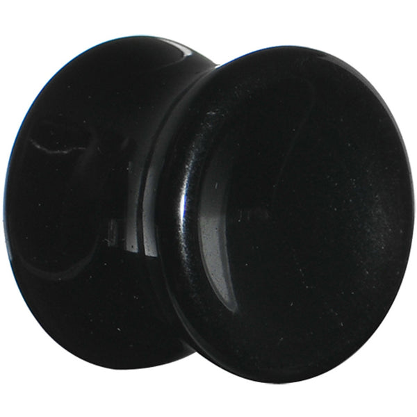 9/16 Black Obsidian Natural Stone Concave Plug