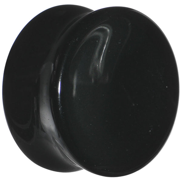 "7/8"" Black Obsidian Natural Stone Concave Plug"