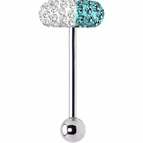Clear Coat Blue Zircon Ferido Crystal Pill Barbell Tongue Ring
