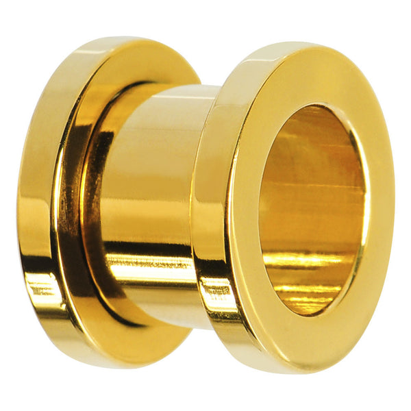 4 Gauge Gold Plated Screw Fit Tunnel