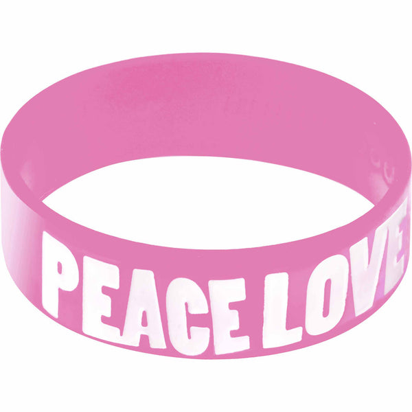 Pink White Peace Love Boobies Awareness for Breast Cancer Bracelet