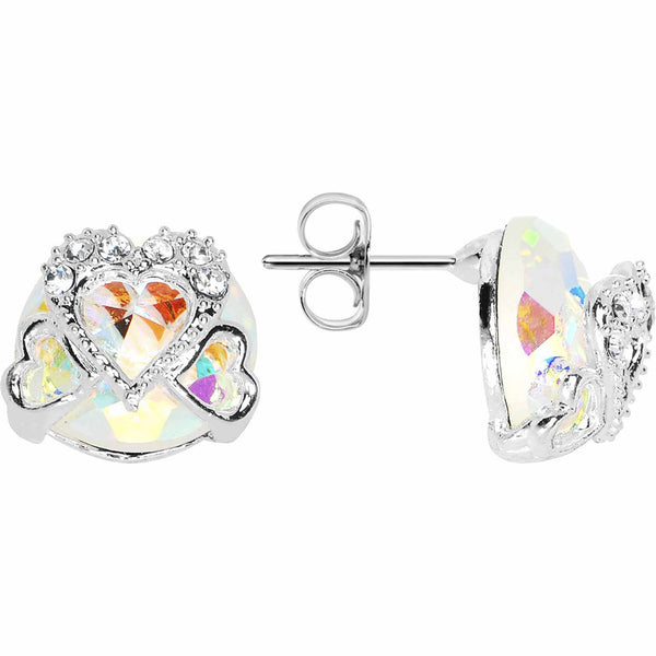 Aurora Gem Paved Hollow Hearts Stud Earrings
