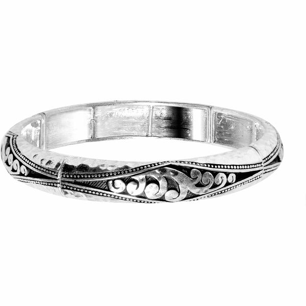 Silver Tone Mumbai Swirl Exotic Stretch Bangle Bracelet