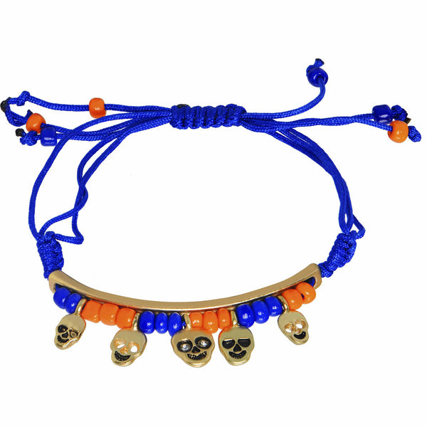 Gold Tone Skulls Blue Multi Strand Beaded Adjustable Charm Bracelet