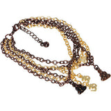 Chocolate and Gold Tone Dangling Enlightenment Multi Chain Bracelet
