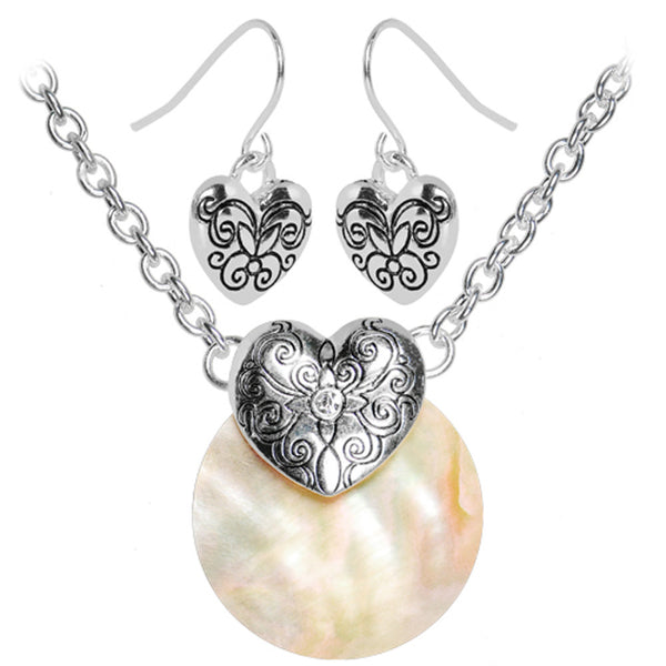 Exotic Floral Hearts Necklace and Earring Set