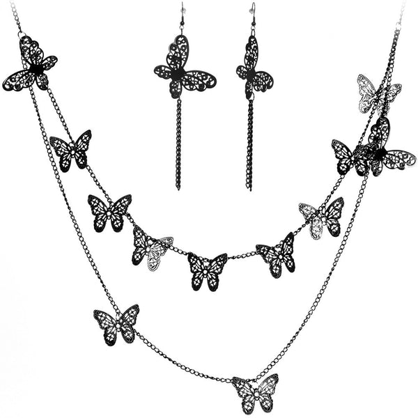 Black Filigree Butterflies Necklace and Earring Set