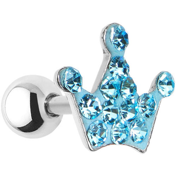 16 Gauge Aqua Crystal Ferido Crown Cartilage Tragus Earring