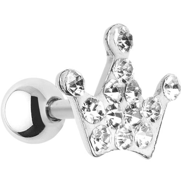16 Gauge Clear Crystal Ferido Crown Cartilage Tragus Earring