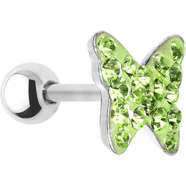 16 Gauge Peridot Green Crystal Ferido Butterfly Cartilage Tragus Earring