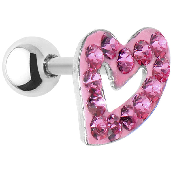 16 Gauge Pink Crystal Ferido Hollow Heart Cartilage Tragus Earring