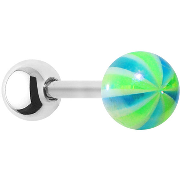 16 Gauge Metallic Blue Green Ball Cartilage Tragus Earring