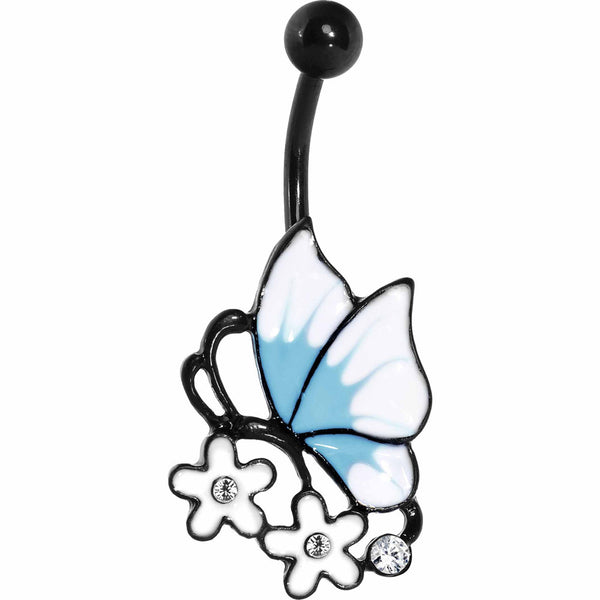 Clear Gem Black Blue Burst White Butterfly Flower Belly Ring