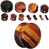 6 Gauge Red Tiger Eye Natural Stone Plug