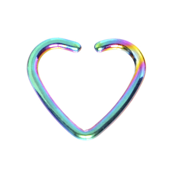 Rainbow Titanium Hollow Heart Closure Daith CartilageTragus Earring