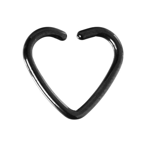 Black Titanium Hollow Heart Closure Daith CartilageTragus Earring