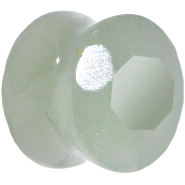 "9/16"" Green Aventurine Semi Precious Stone Faceted Double Flare Plug"