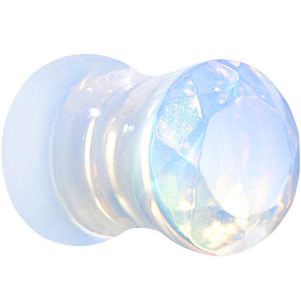 2 Gauge Opalite Semi Precious Stone Faceted Double Flare Plug