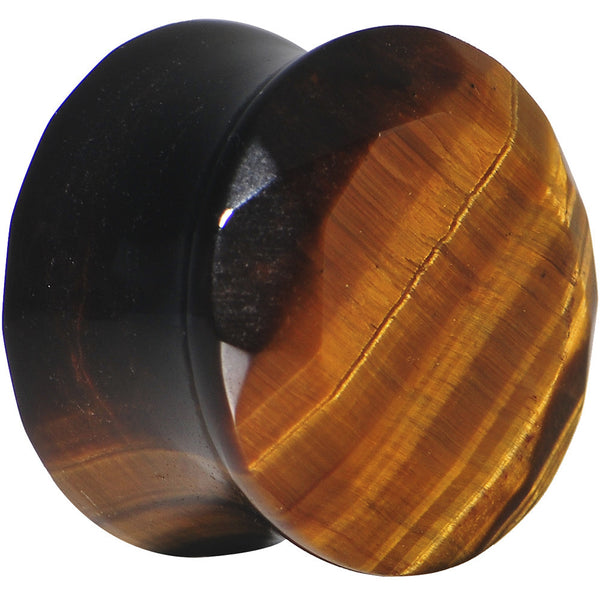 "1/2"" Tiger Eye Semi Precious Stone Faceted Double Flare Plug"