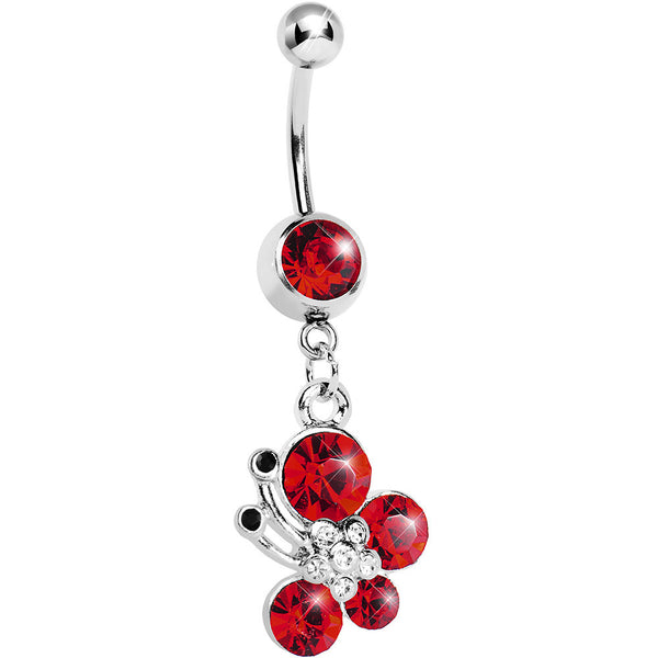 Red Gem Flowering Butterfly Belly Ring