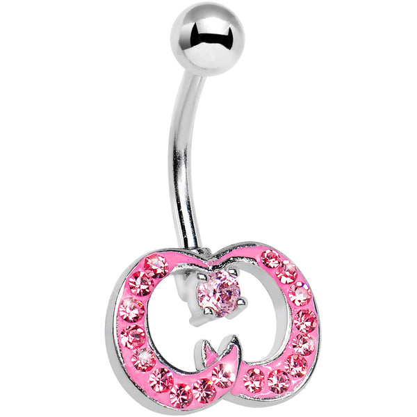 Pink Gem Paved Crescent Ribbon Curls Belly Ring