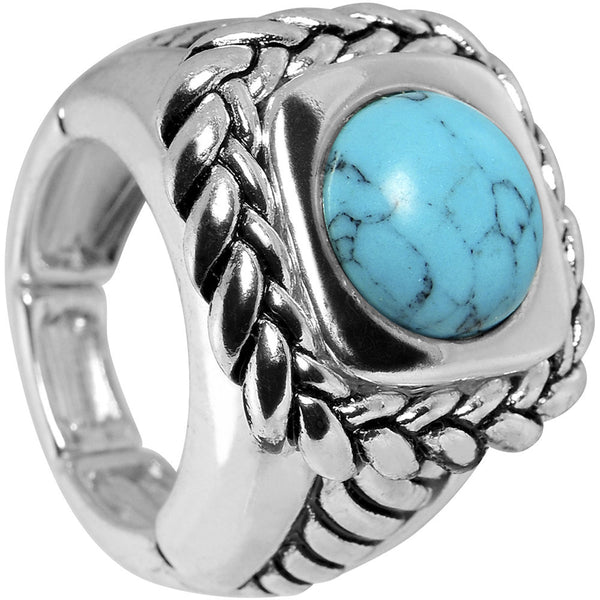 Faux Turquoise Woven Rope Stretch Ring