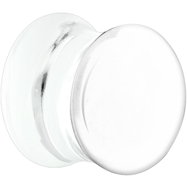 "7/16"" Clear White Double Flare Glass Saddle Plug"