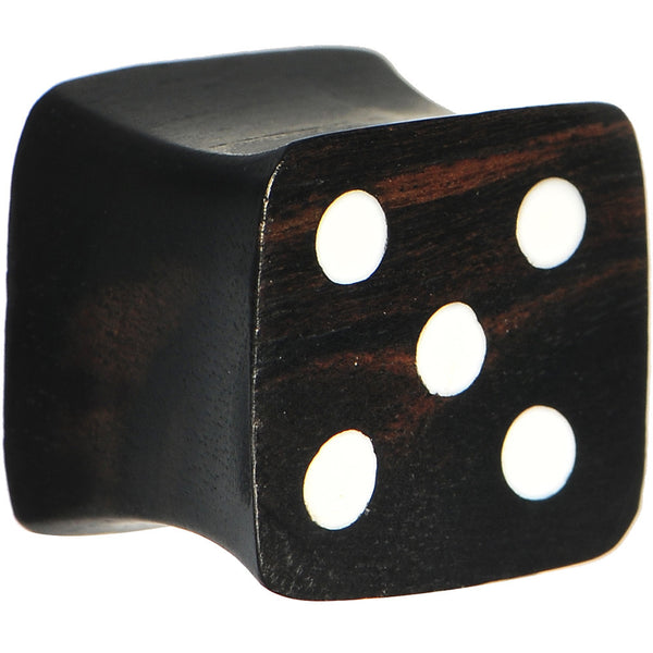 "9/16"" Organic Double Flare Areng Ebony Wood Dice Plug"