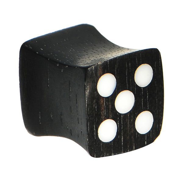 0 Gauge Organic Double Flare Areng Ebony Wood Dice Plug