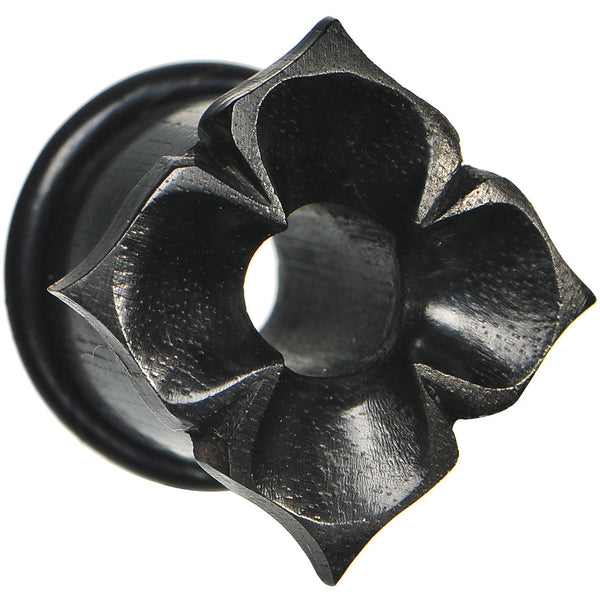9/16 Hand Carved Organic Areng Ebony Wood Flower Tunnel