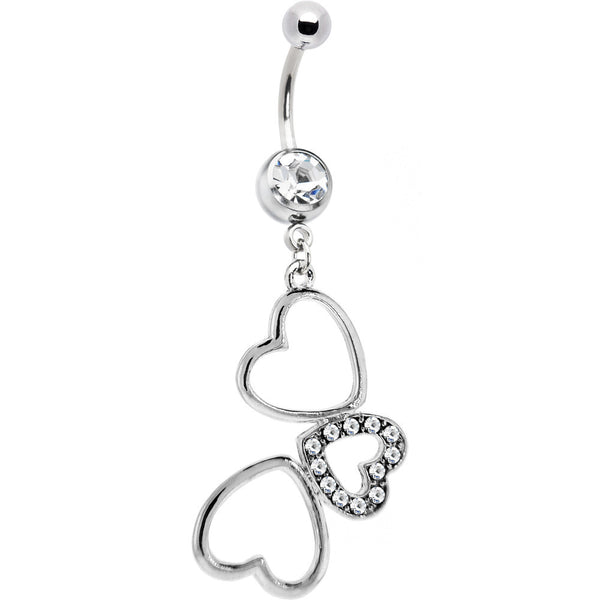 Crystalline Cubic Zirconia HOLLOW HEART TRIO Dangle Belly Ring