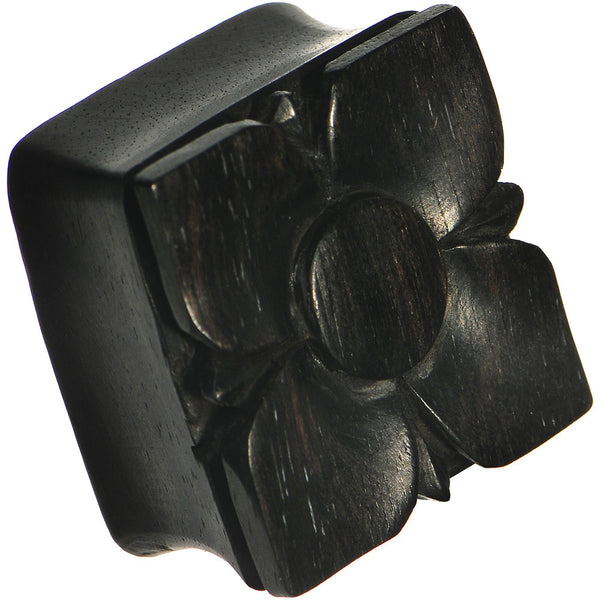 "1"" Hand Carved Organic Areng Ebony Wood Square Flower Plug"