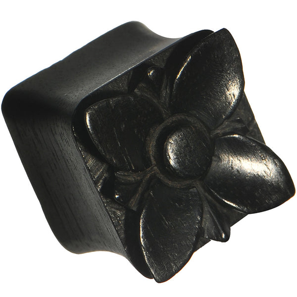 "9/16"" Hand Carved Organic Areng Ebony Wood Square Flower Plug"