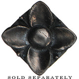 00 Gauge Hand Carved Organic Areng Ebony Wood Square Flower Plug