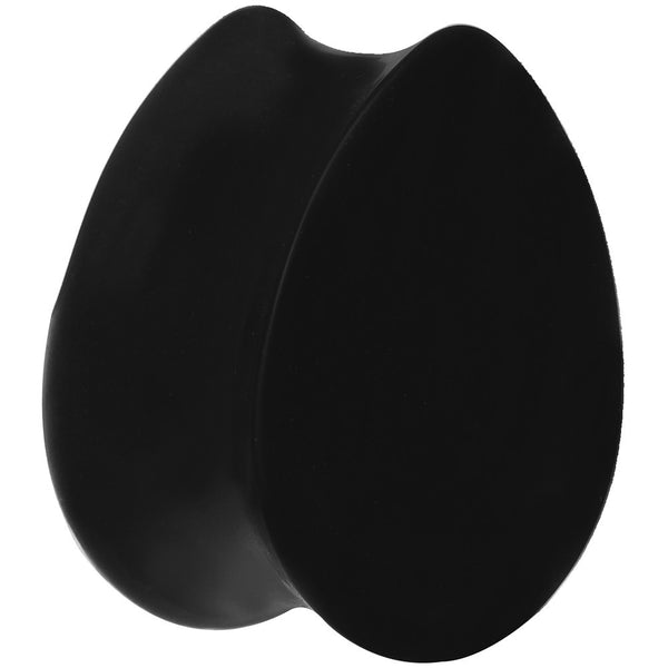 2 Gauge Black Silicone Double Flare Teardrop Plug