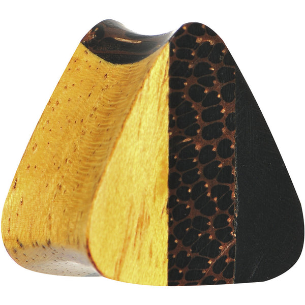 "3/4"" Organic Wood Triple Layer Double Flare Triangular Plug"
