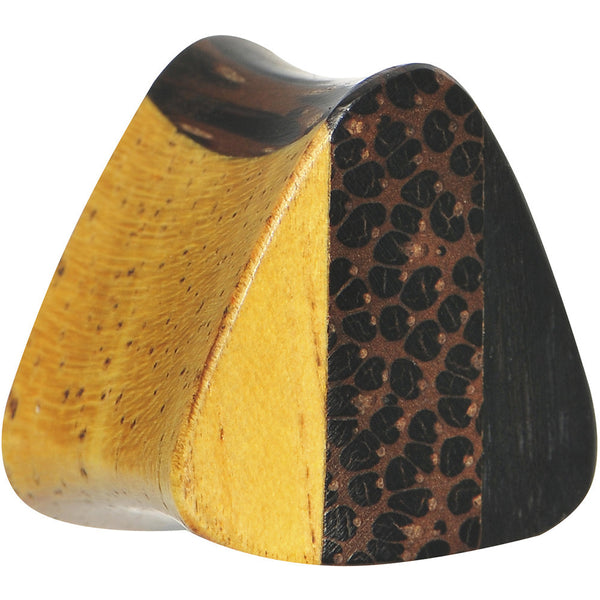 "5/8"" Organic Wood Triple Layer Double Flare Triangular Plug"