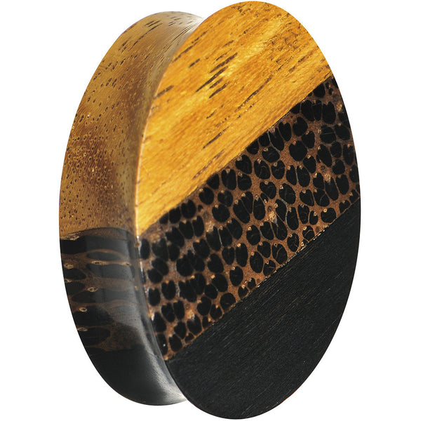 1 inch Organic Wood Triple Layer Double Flare Oval Plug